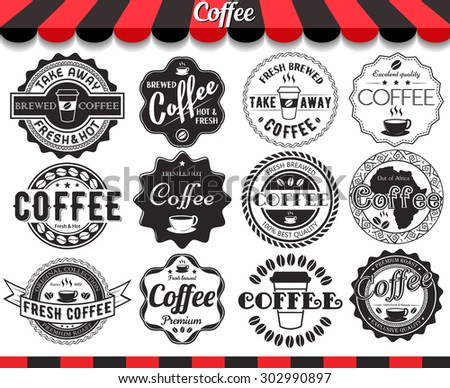 "Set of vintage retro coffee elements styled design, frames, vintage labels and badges.See more in set ""Labels"" of my portfolio - stock vector"