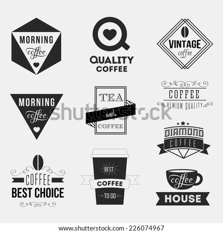 Set of vintage retro coffee Insignias or Logotypes. Vector design elements, business signs, logos, identity, labels, badges and objects. - stock vector