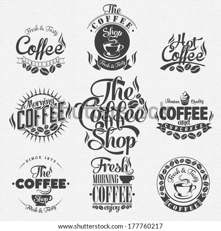 Set Of Vintage Retro Coffee Labels . Coffee decoration collection | Set of calligraphic and typographic elements styled design, frames, vintage labels. Vector. - stock vector