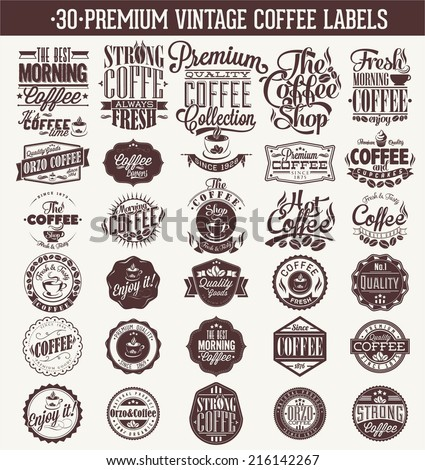 Set Of Vintage Retro Coffee Labels. Coffee decoration collection | Set of calligraphic and typographic elements styled design, frames, vintage labels. Vector. - stock vector