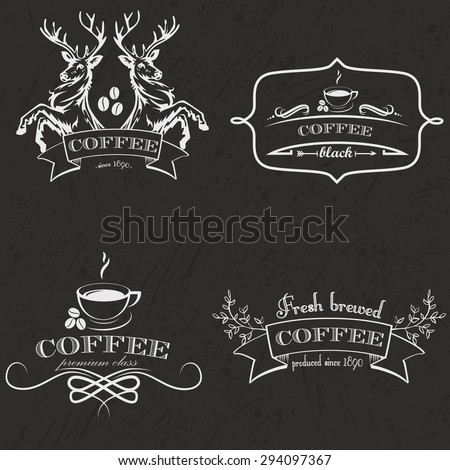 Set of vintage retro coffee logo badges and labels. Vector Illustration. - stock vector