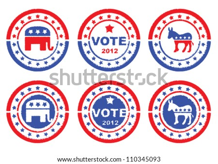 Set of vintage retro 2012 election Stamp, Badges and labels showing Republic Party, Democratic Party and Vote Symbols. - stock vector