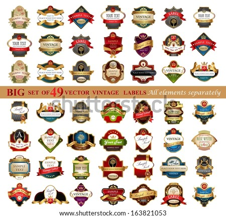 Set of 49 vintage retro labels, - stock vector
