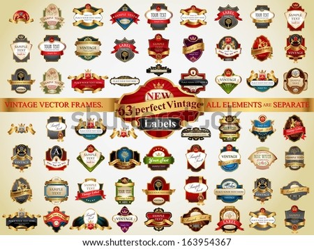 Set of 63 vintage retro labels, frames and design elements - stock vector