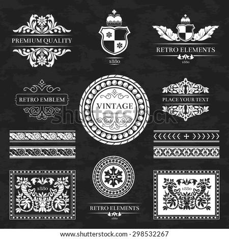 Set of vintage retro labels on chalkboard, stamps, ribbons, marks and frames. Design element in vector - stock vector
