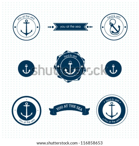Set of vintage retro nautical labels - stock vector