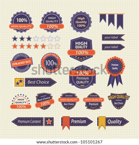 Set of Vintage Retro Premium Quality Labels, Badges, Buttons  and Icons. Vector Design Elements - stock vector