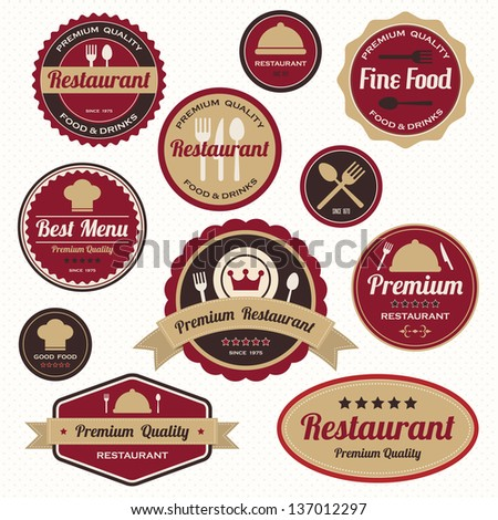 Set of vintage retro restaurant badges and labels - stock vector
