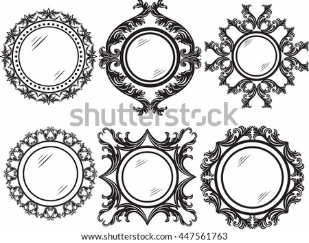 Set of Vintage Retro Round Vector frames. Black and white ornamented work-frame - stock vector