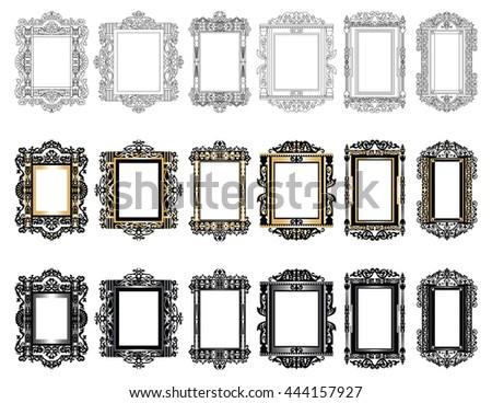 Set of Vintage Retro Vector frames. Black and gold ornamented frames - stock vector