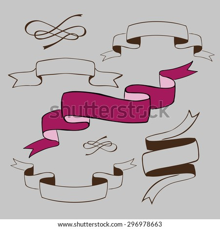 set of vintage ribbons with retro design  - stock vector