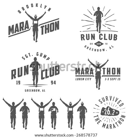 Set of vintage run club labels, emblems and design elements - stock vector
