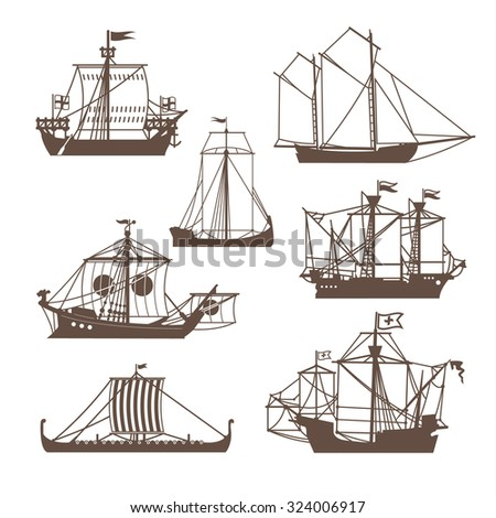 Set of vintage sailing ships. Vector illustration isolated on white - stock vector