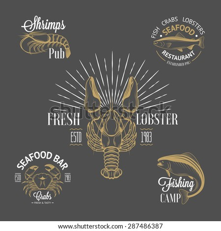 Set of vintage seafood logos with fish, crab, lobster, shrimp and sunburst for your design - stock vector