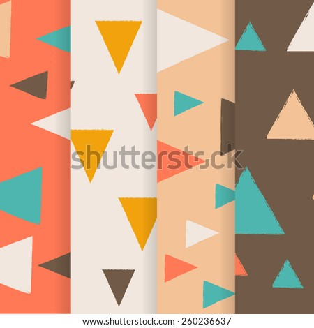Set of vintage seamless backgrounds - stock vector