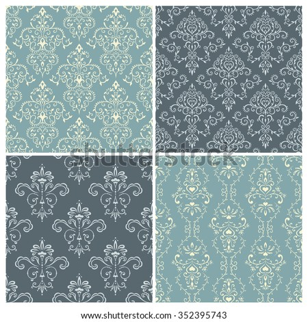 Set of vintage seamless pattern in light blue and grey tones. Vector background. - stock vector