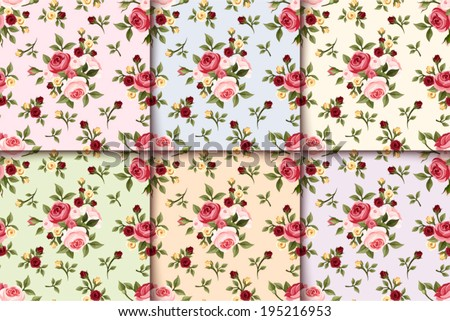 Set of vintage seamless patterns with roses. Vector eps-10. - stock vector