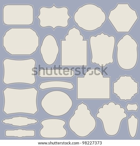 Set of vintage simple paper labels. Vector illustration with design elements. - stock vector