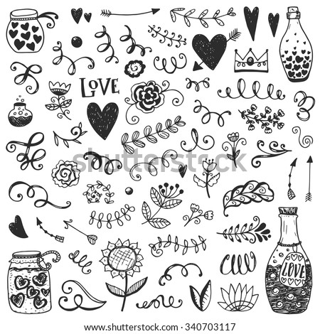 Set of vintage sketch elements. Vector decoration collection. Hand drawn flowers, leaves and page decor. - stock vector