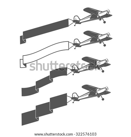 Set of vintage small aircraft dragging blank ribbon - stock vector