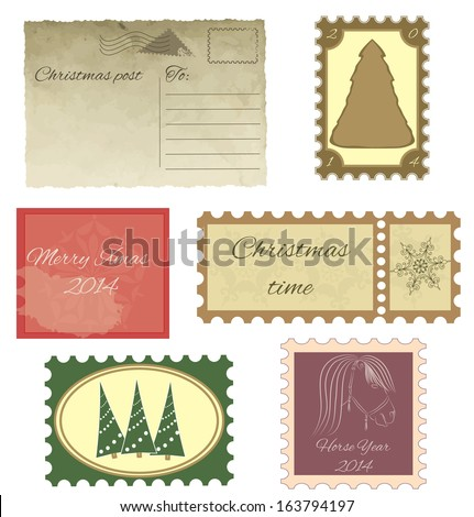 Set of vintage stamps and vintage postcard. Christmas greetings on stamps and postcard. - stock vector