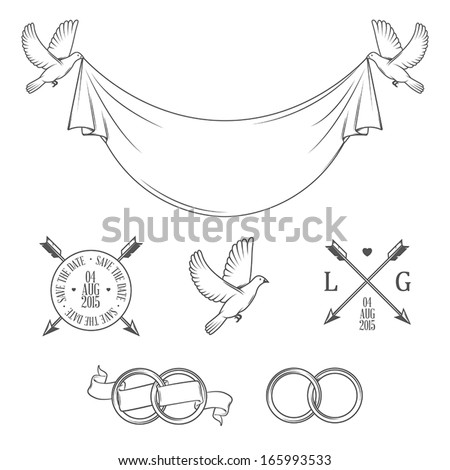 Set of vintage stamps and wedding invitation design elements - stock vector