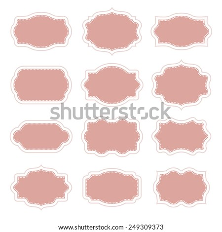 Set of vintage stickers border in frame for messages and greetings - stock vector