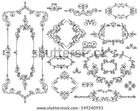 Set of vintage style calligraphic filigree ornament design elements for elegant documents with symmetrical cartouches, borders and frames with curlicues and flourishes - stock vector