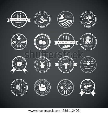 Set of vintage style elements for labels and badges for natural organic products, biodynamic agriculture. Agriculture and farming logos. - stock vector