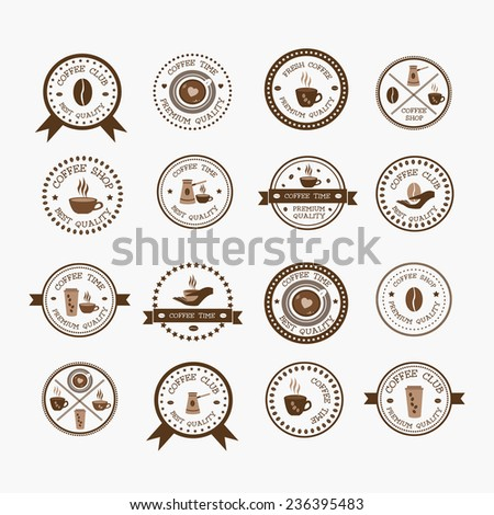 Set of vintage style elements of coffee shop logos, restaurant or bar logotype design elements with mugs and beans. Retro typography, coffee shop, cafe, menu - stock vector