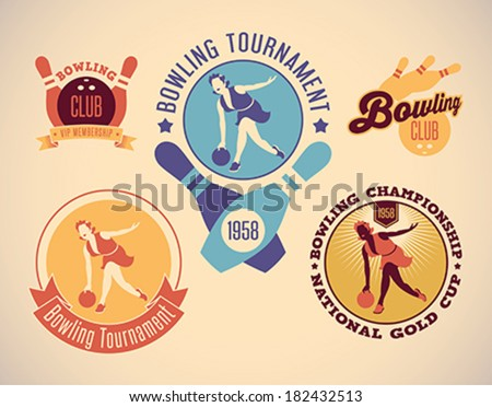 Set of vintage styled bowling tournament labels. Editable vector illustration. - stock vector