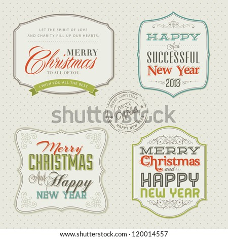 Set of vintage styled Christmas and New Year cards - stock vector