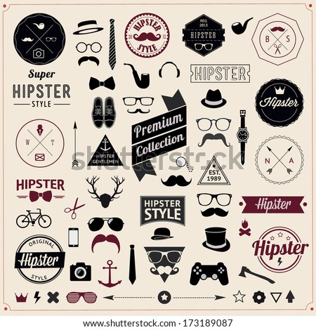 Set of Vintage styled design Hipster icons. Vector illustration background  - stock vector