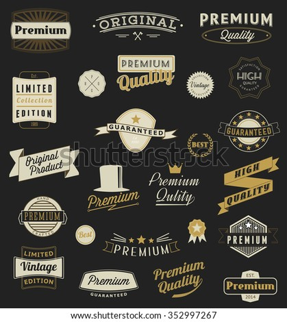 Set of Vintage styled design logo and banners Set of Vintage styled design logo and banners - stock vector