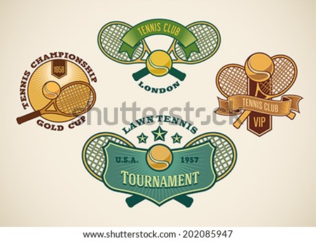 Set of vintage styled tennis club labels. Editable vector illustration. - stock vector
