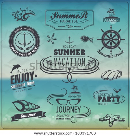 Set of Vintage summer typography design with labels, icons elements - stock vector