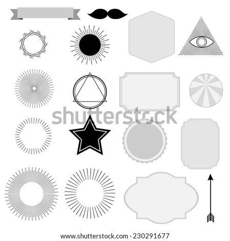 Set of vintage sunburst, symbols, labels, tags, retro and hipster design, isolated vector objects, graphic elements - stock vector
