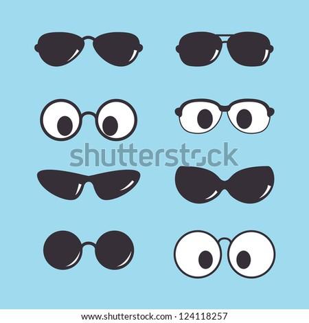 set of vintage sunglasses icon - stock vector