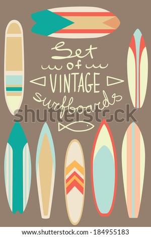 Set of vintage surfboards - stock vector