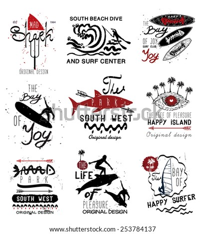 Set of vintage surfing  Labels, logo and design elements - stock vector