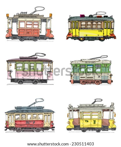 set of vintage trams - cartoon - stock vector