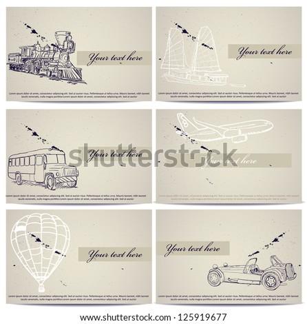Set of vintage transport cards. Vector illustration EPS8 - stock vector