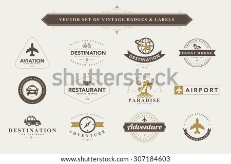 Set of vintage travel badges and labels - stock vector