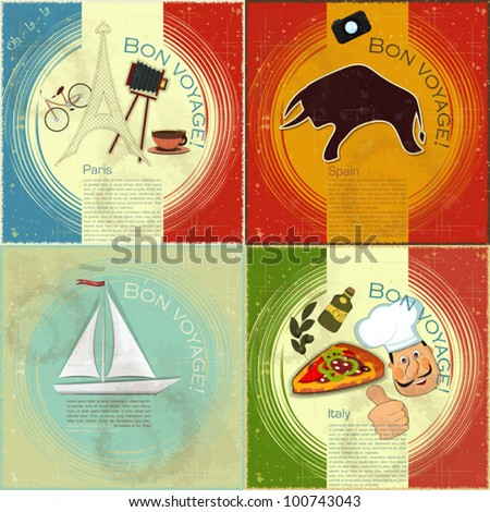 set of Vintage travel postcard - French, Italian and Spanish theme  - grunge style card - vector illustration - stock vector