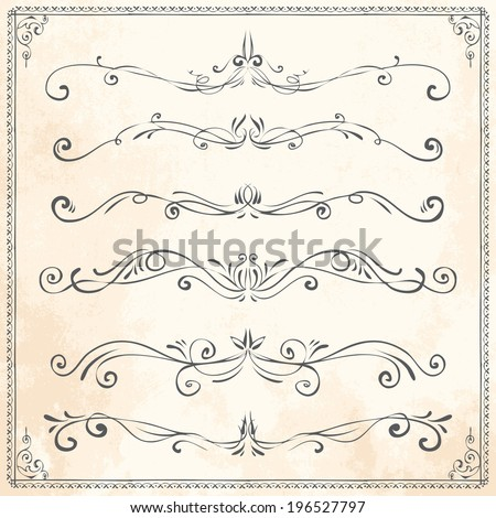 Set of vintage vector dividers, hand drawn  - stock vector