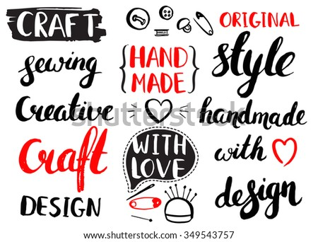 Set of vintage vector hand drawing elements. Collection of design elements. Brush stroke with rough edges. Hand made and craft. Calligraphy. Ink. Lettering.  - stock vector