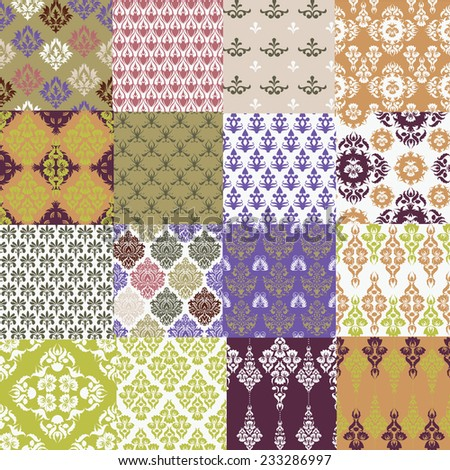 Set of Vintage vector seamless patterns - stock vector
