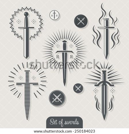 Set of vintage vector swords. - stock vector