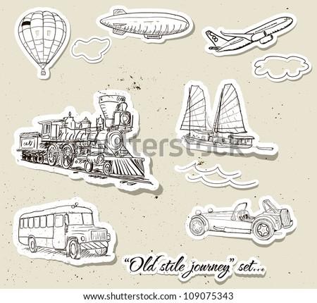Set of vintage vehicles. Vector illustration EPS10 - stock vector