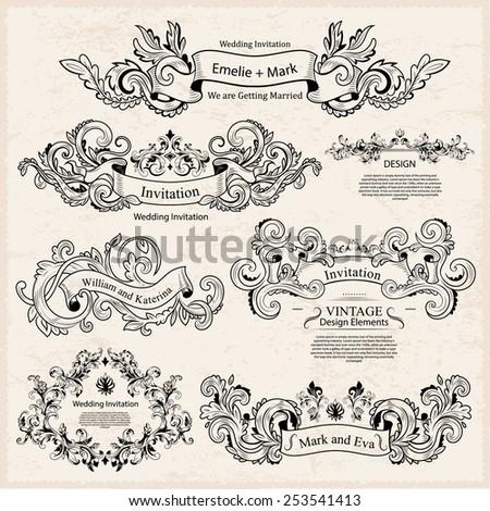 Set of Vintage Victorian ornaments. Wedding design. Invitation - stock vector